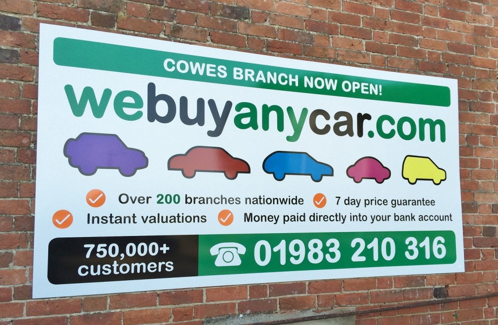 Signage for We Buy Any Car new branch