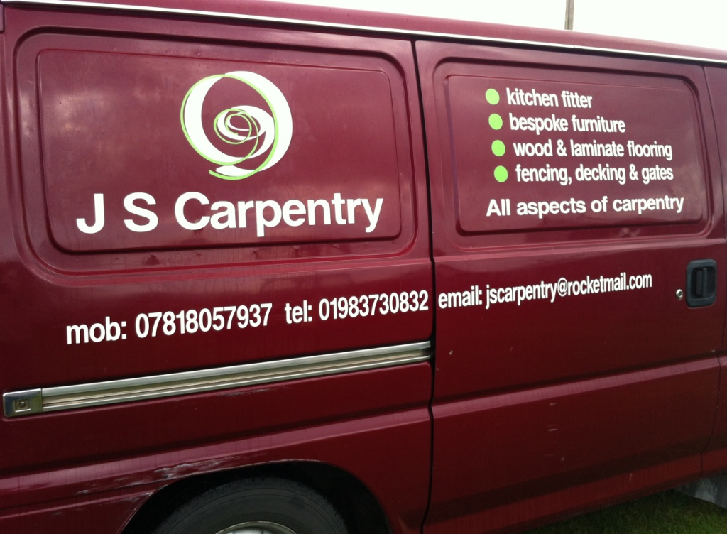 JS Carpentry van sign writing